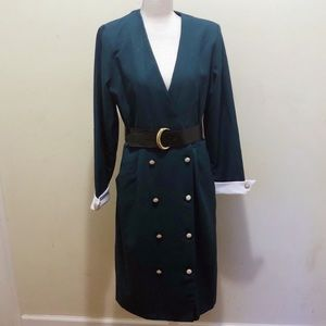Vintage green wrap ʙᴇʟᴛᴇᴅ button dress